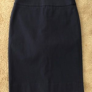 Navy above the knee pencil skirt